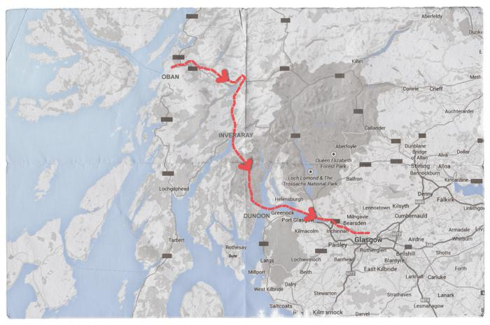 Map of Mendelssohn's Journey from Oban to Glasgow, via Inveraray and Dunoon