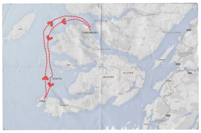 Map of Mendelssohn's Journey from Tobermory to Staffa (visiting Fingal's Cave) and Iona, and back.