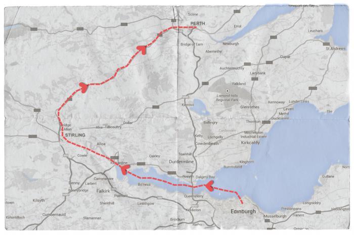 Map of Mendelssohn's Journey from Edinburgh to Perth via Stirling
