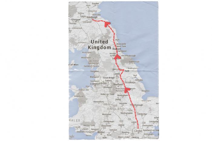 Map of Mendelssohn's Journey from London to Scotland