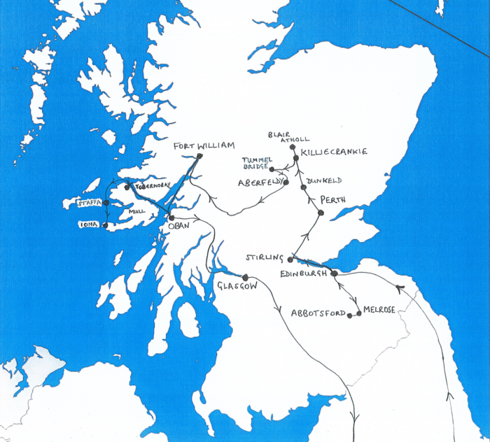 Map of Scotland showing route taken by Mendelssohn and Klingemann in 1829