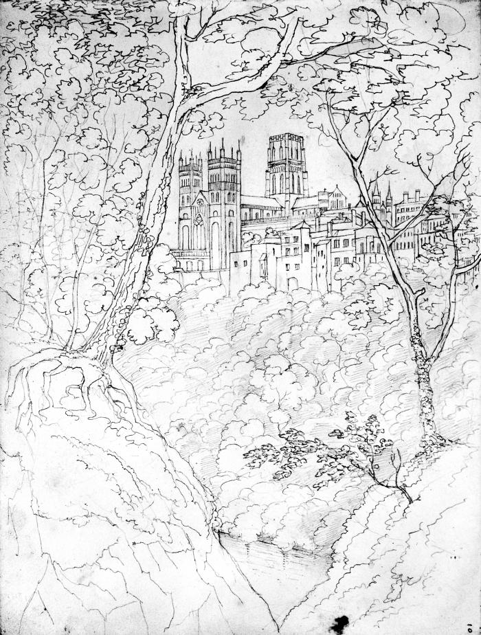 Durham Cathedral 1829 - View from the South West