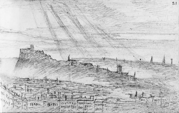 Edinburgh skyline from Salisbury Crags 26 July 1829