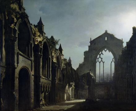 """Louis Daguerre """"The Ruins of Holyrood Chapel"""", 1824"""