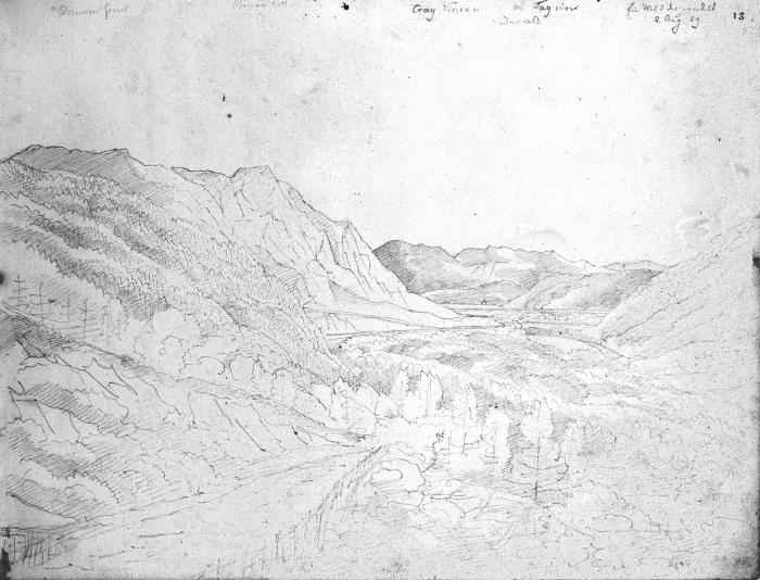 Birnam Wood 2 August 1829. Bodleian sketchbook.
